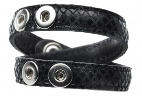 PAVO REAL Pequeno Lederarmband Wave Double Black