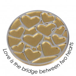 Quoins Münze Higher Dimension Gelbgold plattiert Love is the Bridge between two hearts